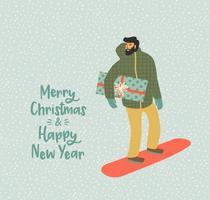 Noël et bonne année illustration Pentecôte. Style rétro branché. vecteur