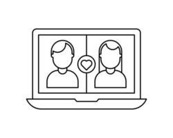 icône de ligne de poids de trait noir modifiable d'une application ou d'une application de datation pour ordinateur portable ou ordinateur portable pour trouver un match d'amour en ligne en tant que vecteur eps