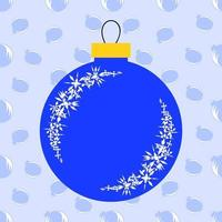 jouet de noël bleu isolé plat sous forme de boules sur fond clair. conception simple pour le traitement. vecteur