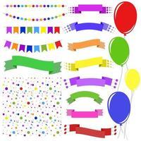 ensemble de guirlandes isolées de couleur plate, confettis, rubans de bannières et ballons sur cordes sur fond blanc. adapté à la conception. vecteur