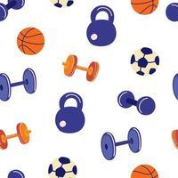 modèle sans couture avec accessoires de sport. haltères, kettlebells, haltères, ballons de football et de basket-ball. fond de remise en forme. équipement de jeux de sport. illustration de plat de vecteur