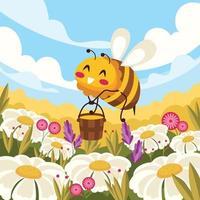 Abeille souriante au champ de fleurs ramassant du miel vecteur