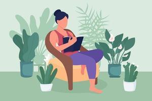 Woman Reading book couleur plate illustration vectorielle vecteur