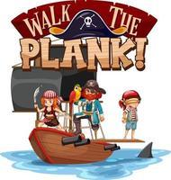 marcher la bannière de police de planche avec le personnage de dessin animé de pirate vecteur