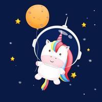 mignon bébé licorne portant un casque d'astronaute et tenant une lune. vecteur premium de personnage de dessin animé animal