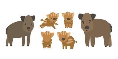 jolie famille de sangliers et de porcelets des forêts. vecteur, dessin animé, isolé, main, dessiné, ensemble, de, animaux, illustration, blanc, fond vecteur