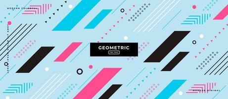 formes géométriques de couleur parallèle sur fond bleu. vecteur
