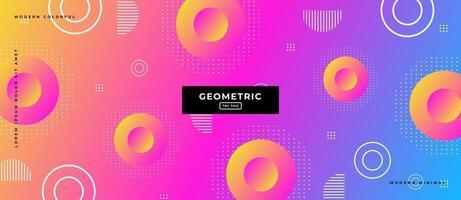 Formes géométriques du cercle 3D sur fond dégradé multicolore. vecteur