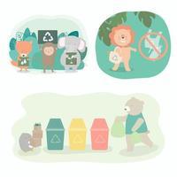 les animaux sauvages font campagne pour le recyclage du vecteur de dessin animé