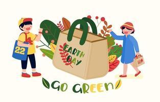 campagne d'affichage pour utiliser des sacs en tissu pour réduire le réchauffement climatique vecteur