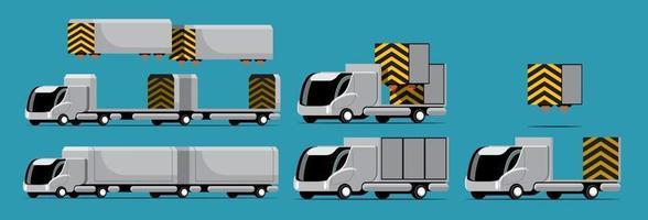 ensemble de maquettes de camions et de conteneurs de haute technologie avec un style moderne vecteur