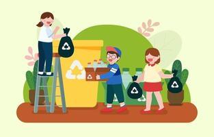 enfants triant une bouteille en plastique pour recycler le vecteur de dessin animé de poubelle