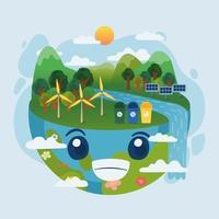 joyeuse journée de la terre et journée mondiale de l'environnement énergie renouvelable vecteur