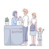les familles de touristes vérifient l'hébergement dans le vecteur de dessin animé