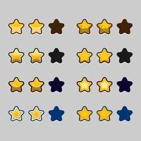 jeu d'étoiles de rang de niveau de jeu vecteur