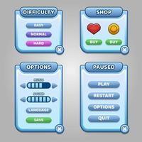 menu bleu complet de l'interface utilisateur graphique gui vecteur