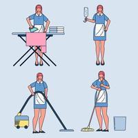ensemble d'affaires femme femme au foyer. repassage, aspirateur sol, serpillière. vecteur