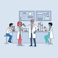 laboratoire de recherche scientifique. scientifiques professionnels chercheurs en chimie travaillant avec des équipements de laboratoire. vecteur