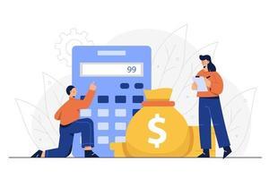 les employés du service financier calculent les dépenses de l'entreprise. vecteur