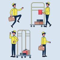 service d'hôtel de groom et chariot à bagages et valises de transport. employé de l'hôtel groom en uniforme du personnel de l'hôtel. vecteur