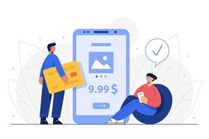 le mari et la femme paient les marchandises par carte de crédit via les services bancaires mobiles. vecteur