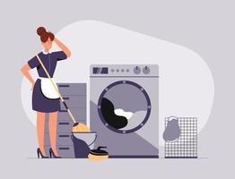 le personnel de nettoyage balaie, nettoie et lave les vêtements dans la machine à laver. vecteur