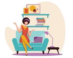 illustration d'une femme assise sur un canapé et communiquée en train de discuter en ligne avec le siège social vecteur