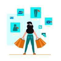 femme portant de nombreux sacs en papier après avoir acheté des marchandises vecteur