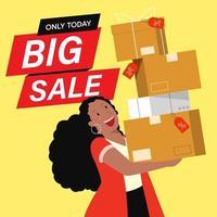 clients de personnages plats de dessin animé sur de grosses ventes, concept de magasinage. vecteur