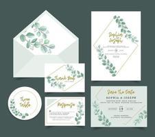 carte d'invitation de mariage 2 vecteur