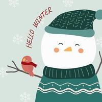 vecteur de l'hiver final avec bonhomme de neige et un oiseau perché sur ses bras