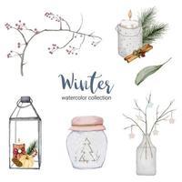 collection d'aquarelles d'hiver avec des branches, des feuilles et des pots. vecteur