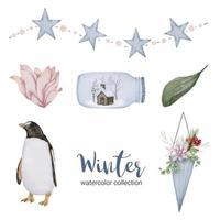 collection d'aquarelles d'hiver avec des feuilles, des fleurs de pingouin et des pots. vecteur