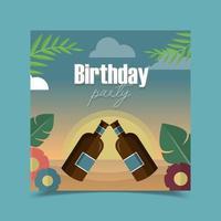 carte de voeux d'anniversaire décorée avec une bouteille de vin, des feuilles, des fleurs et un fond de lune. vecteur