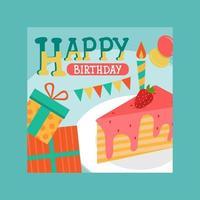 carte de joyeux anniversaire décorée de photos de gâteaux vecteur