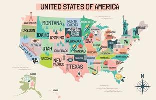 carte des états-unis en style cartoon vecteur
