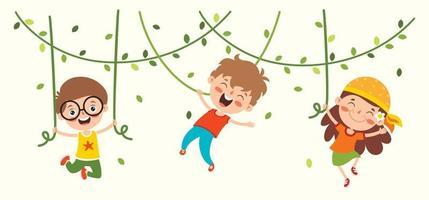 dessin animé de caractère heureux se balançant vecteur