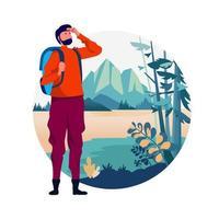 concept d'aventure de voyage de routard. loisirs de plein air dans la nature thème de la randonnée, de l'escalade, du trekking. illustration vectorielle. conception graphique de personnage de dessin animé plat. modèle de page de destination. vecteur