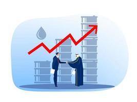homme d'affaires musulman arabe d'huile correspondant à l'acheteur européen, illustration vectorielle plate du commerce du pétrole vecteur