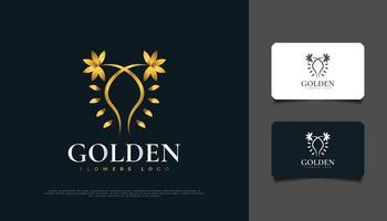 création de logo de fleurs dorées de luxe avec style de ligne, adaptée au spa, à la beauté, aux fleuristes, à la station balnéaire ou aux produits cosmétiques vecteur