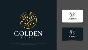 création de logo de feuilles d'or dans un cercle, adapté au spa, à la beauté, aux fleuristes, à la station balnéaire ou à l'identité d'un produit cosmétique vecteur