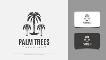 création de logo de trois palmiers, adaptée à l'industrie de la villégiature, du voyage ou du tourisme vecteur