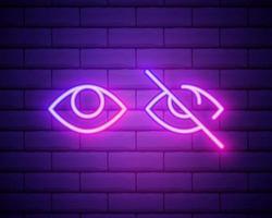 icône de néon des yeux. éléments de médias, jeu de presse. icône simple pour les sites Web, la conception Web, l'application mobile, les graphiques d'informations isolés sur le mur de briques. vecteur