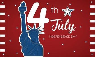 affiche de la fête de lindépendance des états-unis de la statue de la liberté vecteur