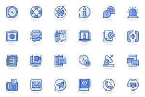 icône de ligne plate web services d'assistance vecteur