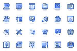 icône de ligne plate web éducation en ligne vecteur