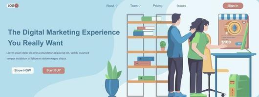 l'expérience de marketing numérique que vous voulez vraiment concept de bannière web vecteur