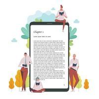 les gens lisent des livres en s'appuyant sur des appareils numériques géants de livres électroniques. vecteur