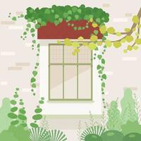 fenêtre dans le jardin. il y a du lierre sur la fenêtre. vecteur