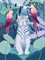 tigre bleu avec des perroquets colorés dans une jungle. belle scène de la faune avec des animaux sauvages et une nature colorée. illustration vectorielle. vecteur